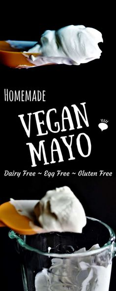 This vegan mayo recipe uses olive oil and soy milk to make a gluten free, dairy free, and egg free mayo! You can use this mayo on sandwiches, in dips, or salads to make them creamy and delicious without eggs or dairy. thehiddenveggies.com