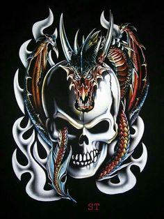 Skull and Dragon Dragon Artwork, Skull Artwork, Skull Tattoos, Body Art Tattoos, Badass Skulls, Totenkopf Tattoos, Skull Pictures, Skull Wallpaper, Skull Design