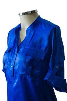 Camisa gola V azul