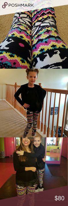 Mother daughter matching leggings soft. Size small Girls size small fits 3t-6.  Woman's size small fits size 2-6 . Soft stretchy leggings. Super cute and well loved but still has some life left.  Womans in great shape girls some sign of wear near knees . You will look fabulous and turn heads with your matching leggings. Your mini me will love it.  Questions welcomed Pants Leggings