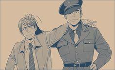 Pre-serum Steve and Bucky, anime style. Posted on fanpop.com.