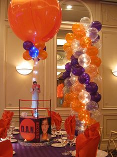 Balloon Arches & Columns - Orange & Purple Balloon Columns