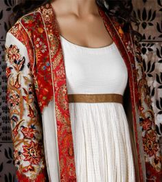 Ivory & Wine Net Long Jacket with Thread Embroidery, by Rohit Bal