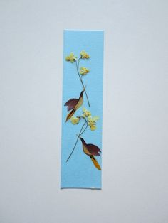 """Handmade unique bookmark """"Valentine's Day in the world of birds"""" - Decorated with dried pressed flowers and herbs - Original art collage."""