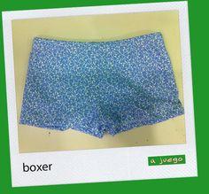 Boxer niño de florecitas azules