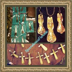 Magnets, Earrings and Pendant Set, and Spoon Handle Crosses made by Spoonelicious Flatwear.