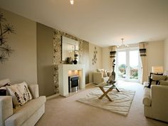Taylor Wimpey show home - mirror on wall with painted strips either side and fire place