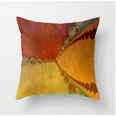 Fiery Southwest Sunset No1 decorative throw pillow, scatter cushion, orange gold yellow brown teal home decor, pillow cover, cushion cover