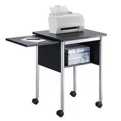 Safco Office Storage Cabinet Machine Stand With Slide Shelf, Black-BL Office Storage, Storage Shelves, Shelf, Storage Ideas, Mobiles, Mobile Printer, Printer Stand, Office Furniture Stores, Black Cabinets