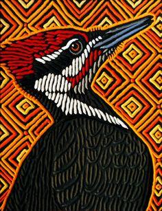 Woodpecker painted woodcut block on salvaged Birch x Lisa Brawn 2013 Lino Art, Woodcut Art, Muebles Art Deco, Doodle Paint, Dibujos Tattoo, Jelly Roll Quilt Patterns, Encaustic Art, Bird Illustration, Aboriginal Art