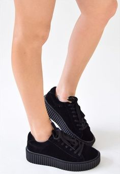 SHOW GIRL GUM SOLE CREEPER - BLACK FAUX SUEDE
