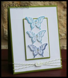 Lucky Limeade and Whisper White card stock, Lucky Limeade Baker Twine, Simply Score Tool and Diagonal Plate, Papillon Potpourri stamp set, Midnight Muse, Bashful Blue and Marnia Mist ink, and Rhinestones