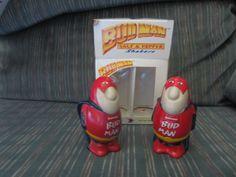 Anheuser Busch Budweiser Bud Man Salt Pepper Shakers Set w/ Box Ceramarte Brazil