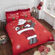 Babbo Natale fiocco di neve bambini trapunta copripiumino e federa Set di biancheria da letto singolo, colore: rosso