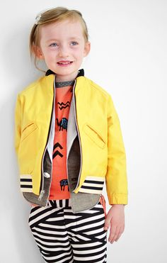 Penelope Style: All handmade. Yellow twill bomber jacket, gender-neutral shawl collared vest, tribal printed raglan tee and bandage striped knit pants. 13+ hours of sewing. DONE.