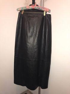 LIZ CLAIBORNE WOMEN's Black LEATHER Long Skirt - Size -12-    eBay