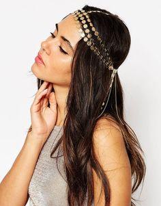 Image 1 ofASOS Statement 70s Disc Chain Hair Crown