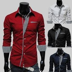 Mens HOT Fashion Long Sleeve Formal Dress Shirts LUXURY Casual Slim Fit – http://www.eDealRetail.com - $19.99
