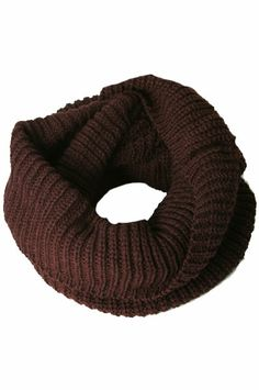 Winter Scarf - Knitted Winter Loose Round Scarf 1 (Brown)