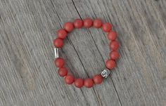 CLEARANCE Sale - Matte red agate bracelet - Buddha bracelet, beaded jewelry, yoga natural bracelet, semiprecious *  FREE SHIPPING