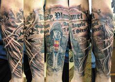 Superman sleeve tattoo mens