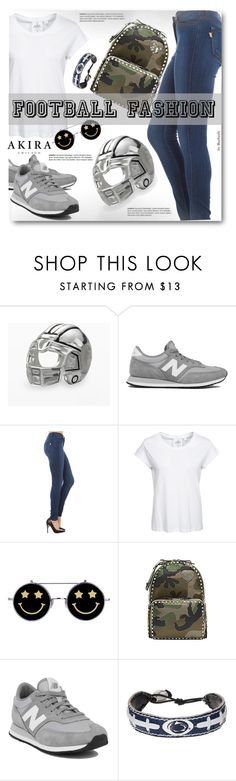"""""""Game On! Casual Football Fashion"""" by beebeely-look ❤ liked on Polyvore featuring moda, Individuality Beads, New Balance, Akira, Cheap Monday, Valentino, GameWear, women's clothing, women i female"""