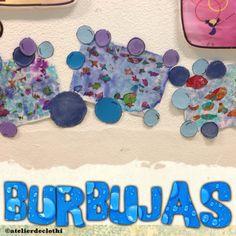 Burbujas de cartulinas pintadas con tiza