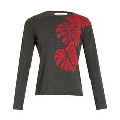 Valentino Palm-leaf intarsia cashmere sweater ($1,980) ❤ liked on Polyvore featuring tops, sweaters, valentino sweaters, palm tree sweater, low top, intarsia sweater and palm tree top