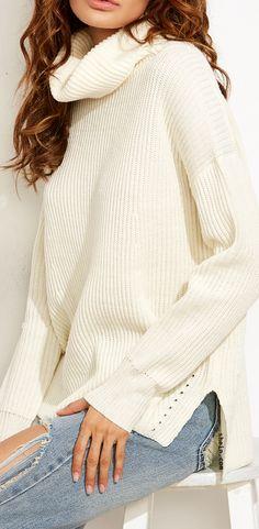 White Turtle Neck Drop Shoulder Side Slit Sweater