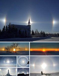Sundogs Strange Natural Phenomena - Seen during really cold sunsets/sunrises.