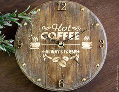 """Купить Часы """"Тишина и чашечка кофе"""" - коричневый, часы, часы настенные, часы для кухни"""