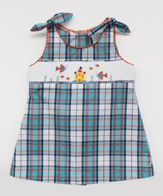 Look what I found on #zulily! Blue Plaid Ocean Smocked A-Line Dress - Infant, Toddler & Girls #zulilyfinds