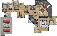 Impressive Exclusive Tuscan House Plan with Game Room - floor plan - Main Level Tuscan House Plans, Dream House Plans, House Floor Plans, Foyer Storage, Video Game Rooms, Game Room Design, Tuscan Design, Sims House, Dreams