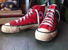 d39cc402461c7c Vintage 1970 s Red Converse All Star High-Tops Made In USA Womens 7  Basketball Punk