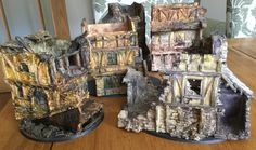 John Blanche's personal Mordheim terrain. Thinned oil washes painted directly on bare resin.