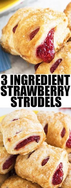Quick and easy STRAWBERRY STRUDEL recipe with puff pastry. This easy 30 minute dessert or snack  has a flaky sugary crispy top with a delicious strawberry filling. From cakewhiz.com