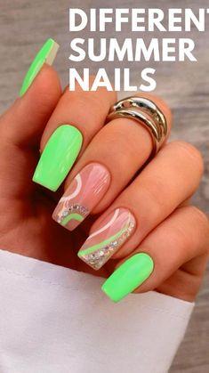 Edgy Nails, Funky Nails, Neon Nails, Neon Green Nails, Trendy Nails, Acrylic Nails Coffin Short, Best Acrylic Nails, Acrylic Nail Designs, Neon Nail Designs