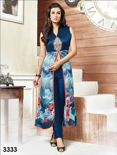 028f80b91 Buy Dark Midnight Blue Designer Party Wear Kurti at Wholesale