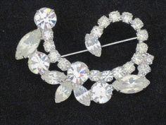 Vintage Rhinestone Brooch   Crystal Clear by nedaoriginals on Etsy, $22.00