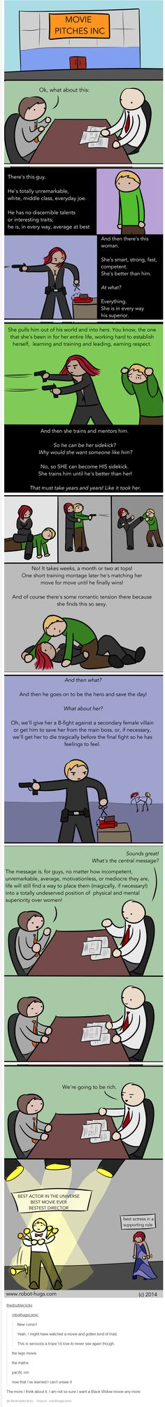 Robot Hugs comic: Female roles in movies. | The message is, for guys, no matter how incompetent, unremarkable, average, motivationless, or mediocre they are, life will still find a way to place them (magically, if necessary!) into a totally undeserved position of physical and mental superiority over women! | I still want a Black Widow movie; just let's please avoid this.