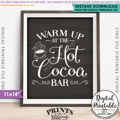 "Hot Cocoa Bar Sign, Warm Up at the Hot Cocoa Bar Wedding Sign Hot Chocolate Sign, 11x14"" Chalkboard Style Instant Download Digital Printable"