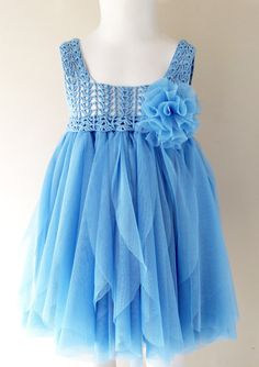 Blue Baby Tulle Dress with Empire Waist and Stretch Crochet Top.Tulle dress for girls with lacy crochet bodice.