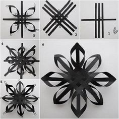 49 ideas diy kids crafts winter paper stars for 2019 Christmas Origami, Christmas Snowflakes, Christmas Crafts, 3d Snowflakes, Black Christmas, Diy Christmas Star, Paper Christmas Decorations, Snowflake Ornaments, Snowflake Diy Paper