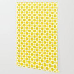 Geometric Floral Circles Summer Sun Shine Bright Yellow Wallpaper Sun Shine, Peel And Stick Wallpaper, Bright Yellow, Fabric Panels, Repeating Patterns, Summer Sun, Pattern Wallpaper, Circles, Floral