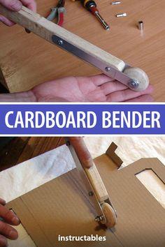 This cardboard bender tool will make all of your cardboard projects easier. Diy Cardboard Furniture, Cardboard Paper, Cardboard Crafts, Woodworking Furniture, Woodworking Shop, Woodworking Projects, Paper Crafts, Diy Projects, Cardboard Playhouse