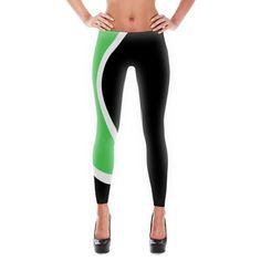 Green, White & Black Wave Leggings