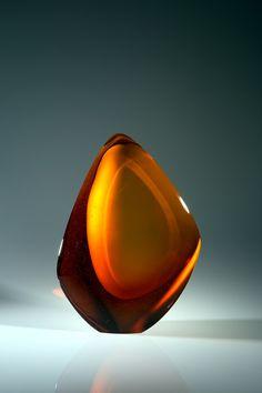 Peter Bremers glass sculpture  Amber Dream Space `17dim.51x38x18cm.