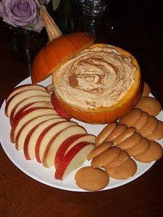 Fall Fruit Dip  Ingredients: {1} 15 oz can of pumpkin {1} 5 oz box of instant vanilla pudding {just the powder, don't make the pudding} {1} 16 oz container of cool whip {low fat} {1} small pumpkin {1/2} T Pumpkin Pie Spice {1/2} T Cinnamon  Directions: 1. Mix pumpkin, pudding mix, cool whip, pumpkin pie spice together {by hand} in a large bowl. 2. Chill for several hours before serving. Meanwhile, carve pumpkin 3. Sprinkle with cinnamon, serve with apple slices, vanilla wafers or ginger…