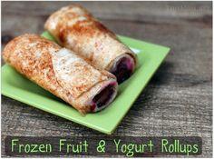 Frozen Fruit and Yogurt Rollups What's For Breakfast, Breakfast Burritos, Breakfast Recipes, Snack Recipes, Yogurt Breakfast, Frozen Breakfast, Breakfast Bites, Lunch Snacks, Healthy Snacks