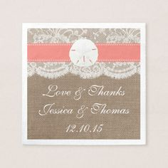 The Coral Sand Dollar Beach Wedding Collection Paper Napkin